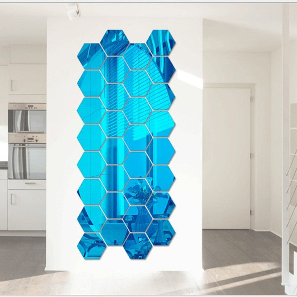 12Pcs/set 3D Mirror Hexagon Wall Sticker
