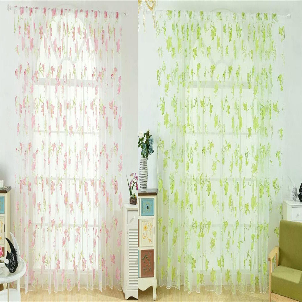 Leaves Sheer Tulle Curtain