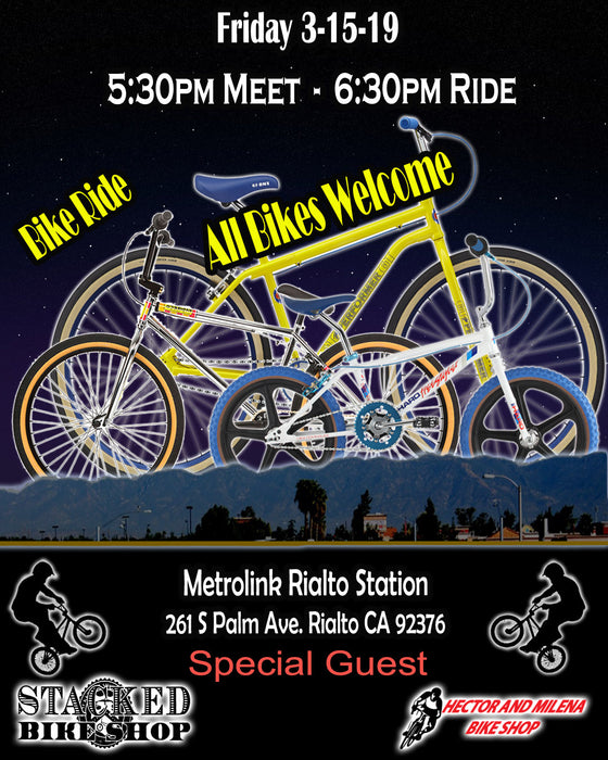 Big Bike ride:  Rialto Train station Friday 3-15-19 5:30pm