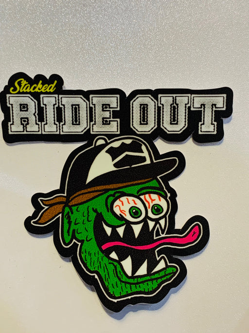 "3.25"" Stacked Original face Rideout Sticker Black"