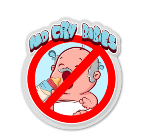 "2"" No cry babies sticker"