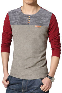 Casual Color Block Buttoned Round Neck Men's Tee-S / Red-looksinn
