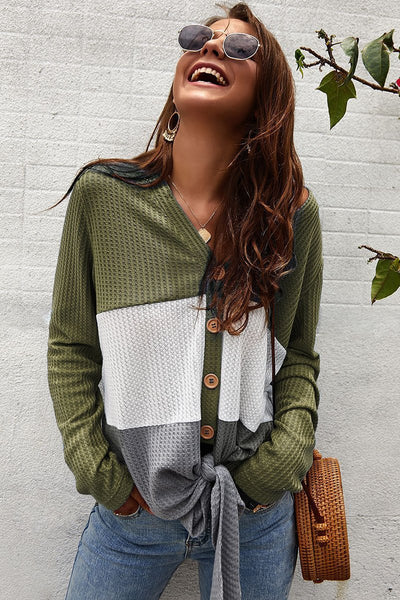 Casual Color Block Buttoned Sweater Cardigan-S / Army Green-looksinn