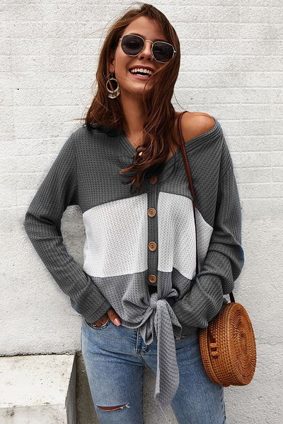 Casual Color Block Buttoned Sweater Cardigan-S / Gray-looksinn