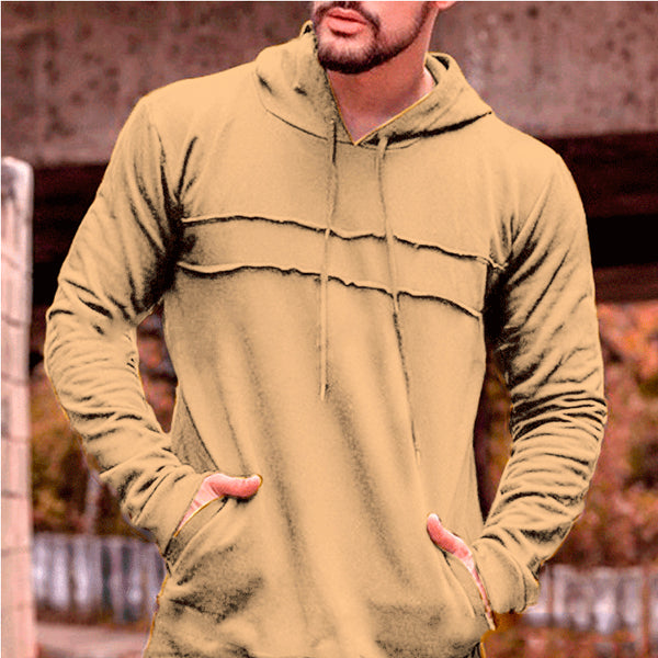 Solid Color Pleated Pocket Men's Hoodie-M / Apricot-looksinn