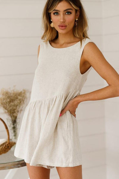 Sexy Loose-Fit Backless Romper-S / White-looksinn