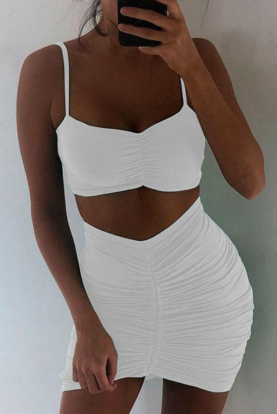 Sexy Pleated Spaghetti Strap 2-Piece Set-S / White-looksinn