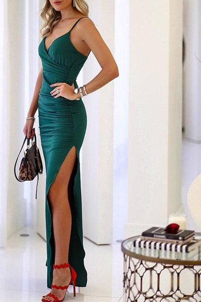 Sexy Split Spaghetti Strap Party Dress-S / Green-looksinn