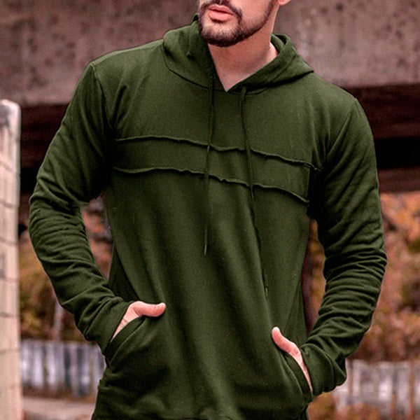 Solid Color Pleated Pocket Men's Hoodie-M / Army Green-looksinn