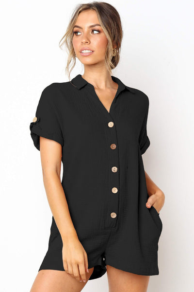 Stylish Buttoned Loose-Fit Romper-S / Black-looksinn