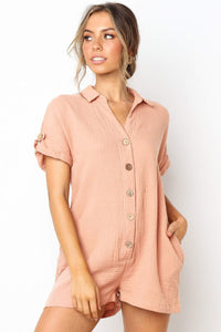 Stylish Buttoned Loose-Fit Romper-S / Pink-looksinn