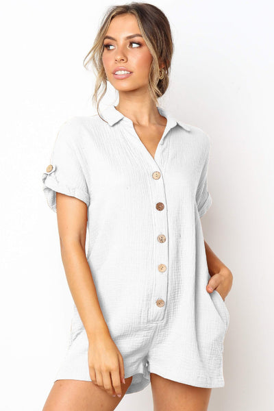 Stylish Buttoned Loose-Fit Romper-S / White-looksinn