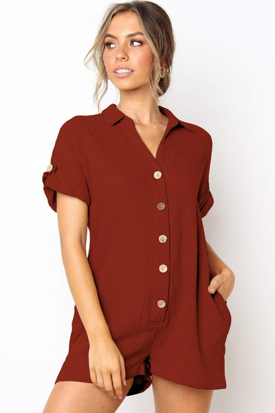 Stylish Buttoned Loose-Fit Romper-S / Burgundy-looksinn