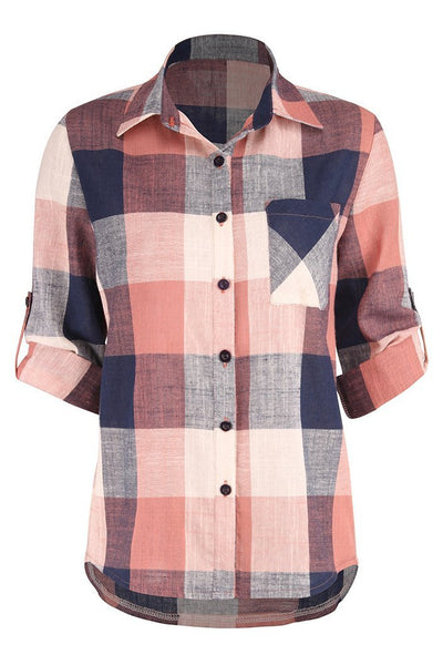 Soft Colored Plaid Loose-Fit Women's Shirt-[variant_title]-looksinn