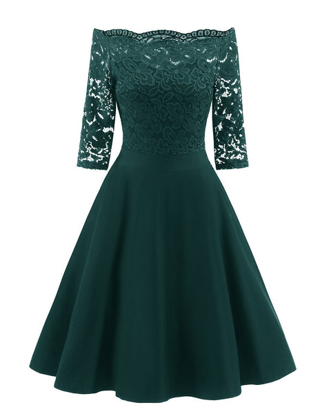 Elegant Off-Shoulder Patchwork Lace Dress-S / Green-looksinn