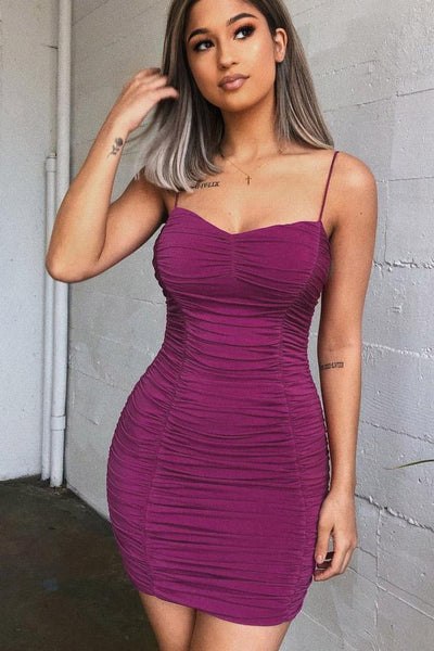 Sexy Purple Pleated Bodycon Dress-[variant_title]-looksinn