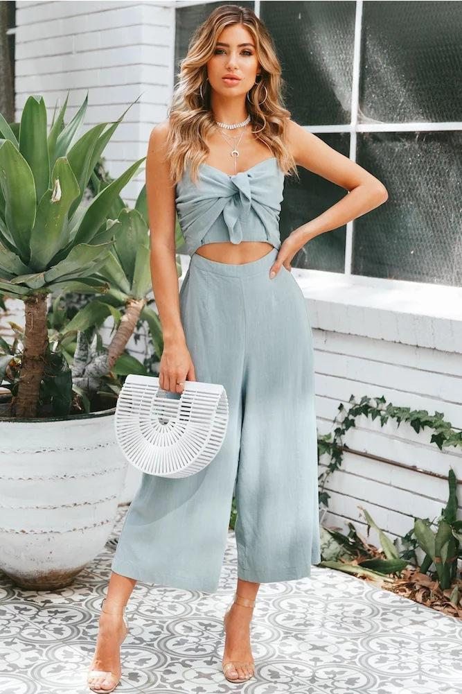 Sexy Hollow Tie-Front Jumpsuit-S / Sky Blue-looksinn