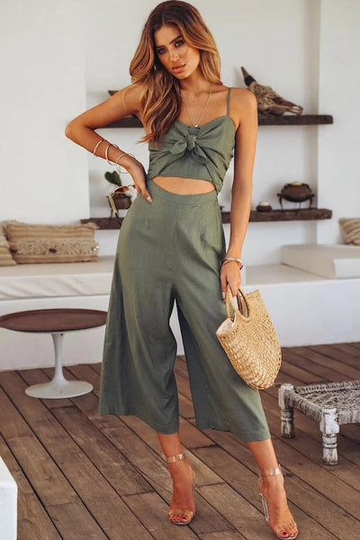 Sexy Hollow Tie-Front Jumpsuit-S / Green-looksinn