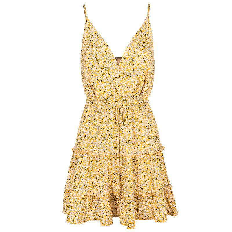 Chic V-Neck A-Line Printing Day Dress-S / Yellow-looksinn