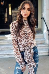 Sexy Leopard High-Neck Tie-Front Blouse-S / Brown-looksinn