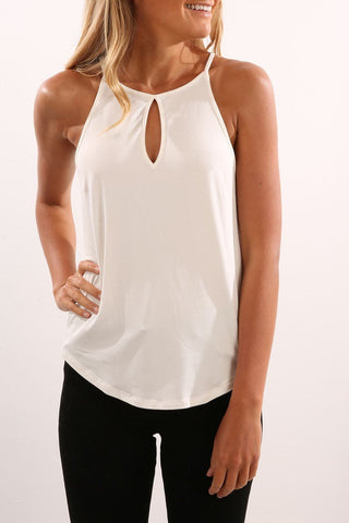 Solid Color Cutout Women's Tank Top-S / White-looksinn
