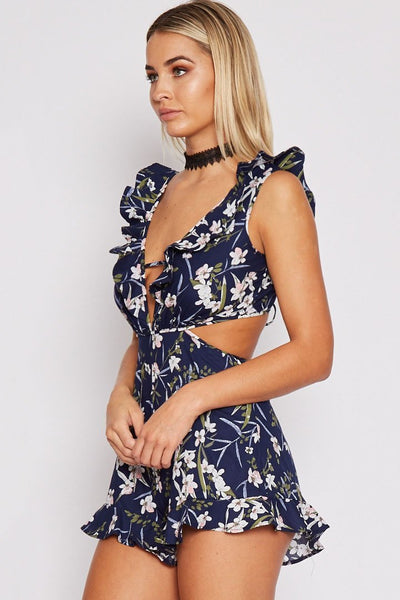 Stylish Floral Cut-Out Romper-[variant_title]-looksinn