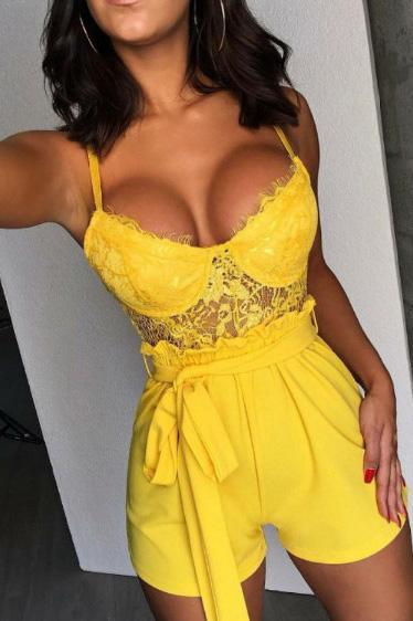 Sexy Lace Patchwork Belt-Tie Romper-S / Yellow-looksinn