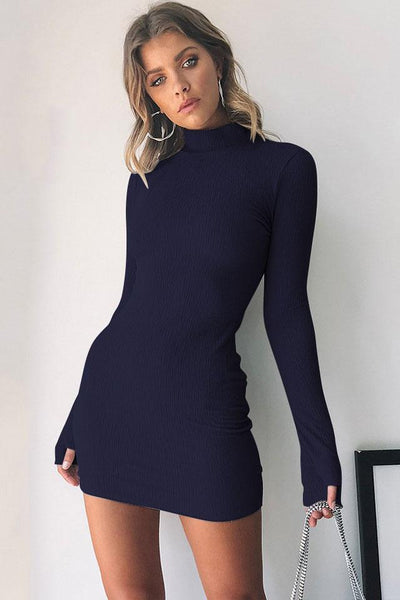 Solid Color Stand Collar Bodycon Dress-S / Black-looksinn