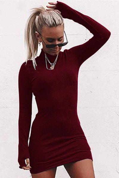 Solid Color Stand Collar Bodycon Dress-S / Burgundy-looksinn