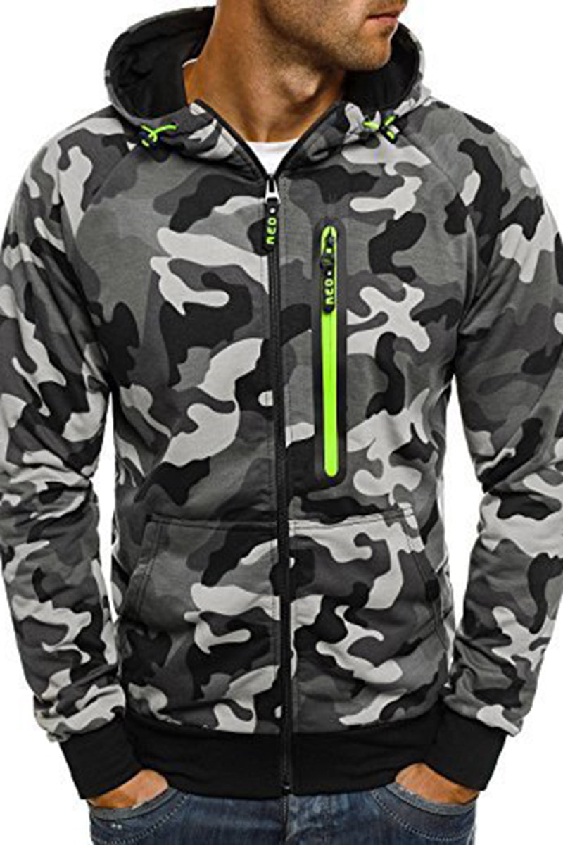 Casual Camouflage Printing Zipper Men's Jacket-M / Gray-looksinn