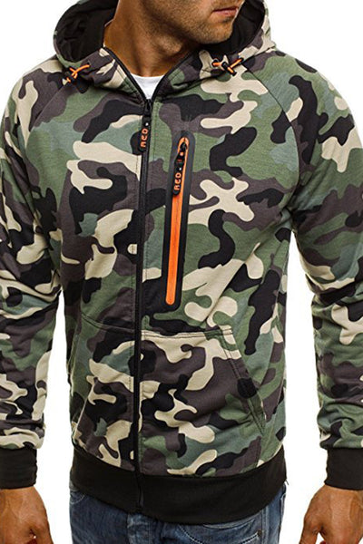 Casual Camouflage Printing Zipper Men's Jacket-M / Green-looksinn
