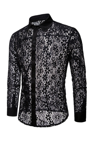Vogue Lace Designed See-Through Men's Shirt-S / Black-looksinn