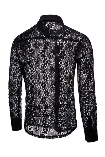 Vogue Lace Designed See-Through Men's Shirt-[variant_title]-looksinn