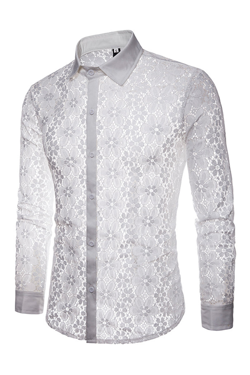 Vogue Lace Designed See-Through Men's Shirt-S / White-looksinn
