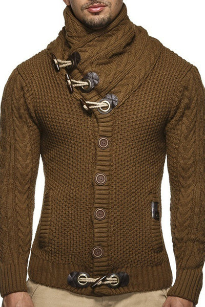 Warm Single-Breasted High Neck Men's Sweater-M / Brown-looksinn