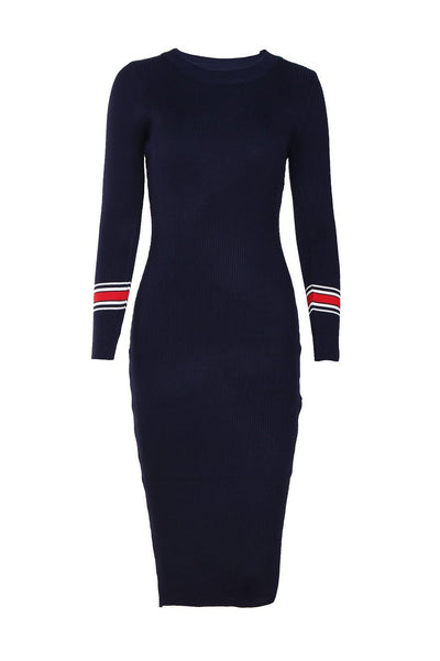 Slimming Stripes Long Sleeve Sweater Dress-One-Size / Royal Blue-looksinn