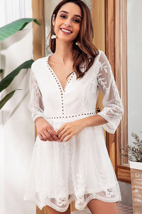 Chic Embroidery See-Through Lace Dress-S / White-looksinn