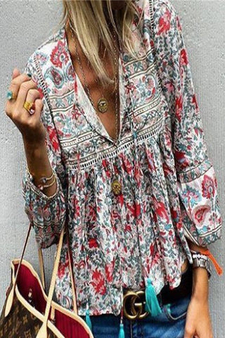 Bohemian Printed Lantern Sleeve Blouse-S / Red-looksinn