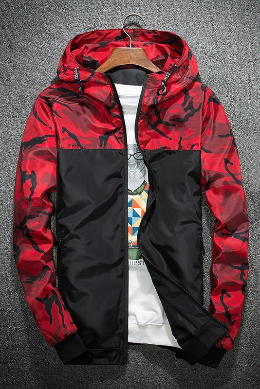 Casual Camouflage Patchwork Men's Jacket-M / Red-looksinn