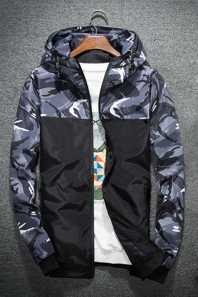 Casual Camouflage Patchwork Men's Jacket-M / Gray-looksinn