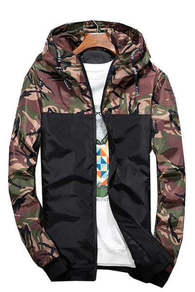 Casual Camouflage Patchwork Men's Jacket-M / Army Green-looksinn