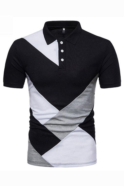 Stylish Color Block Short Sleeve Men's Polo-S / Black-looksinn