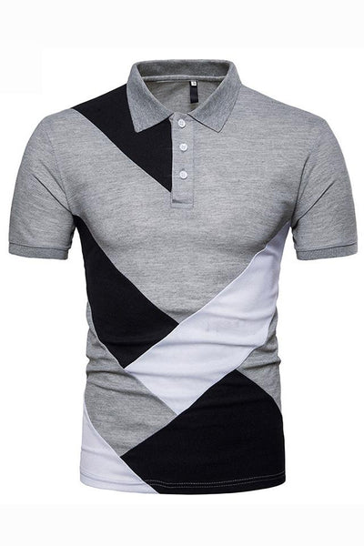 Stylish Color Block Short Sleeve Men's Polo-S / Gray-looksinn