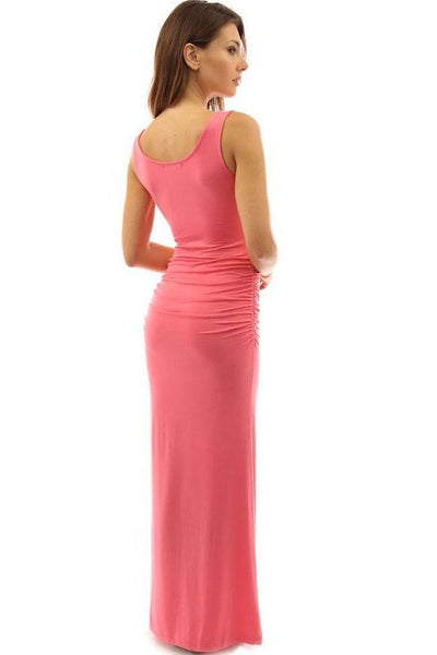 Candy Color Pleated Side-Slit Maxi Dress-[variant_title]-looksinn