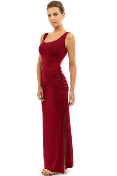 Candy Color Pleated Side-Slit Maxi Dress-S / Burgundy-looksinn