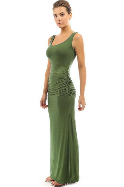 Candy Color Pleated Side-Slit Maxi Dress-S / Green-looksinn
