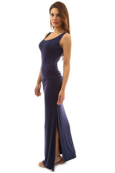 Candy Color Pleated Side-Slit Maxi Dress-S / Dark Blue-looksinn