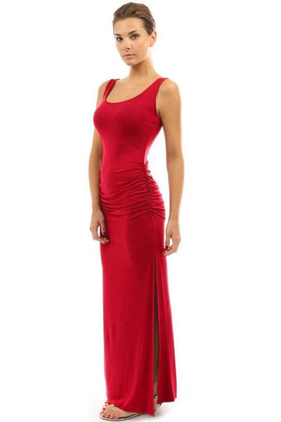 Candy Color Pleated Side-Slit Maxi Dress-S / Red-looksinn