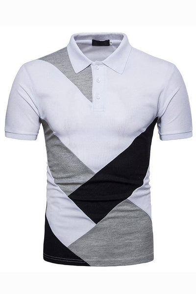 Stylish Color Block Short Sleeve Men's Polo-S / White-looksinn