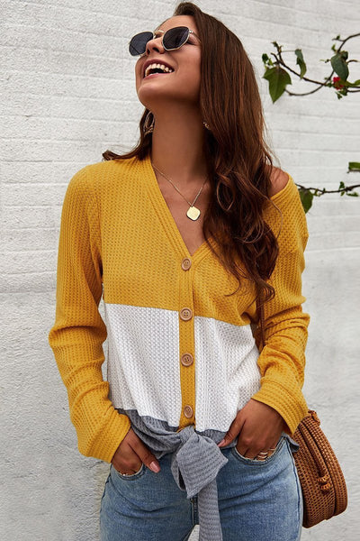 Casual Color Block Buttoned Sweater Cardigan-S / Yellow-looksinn
